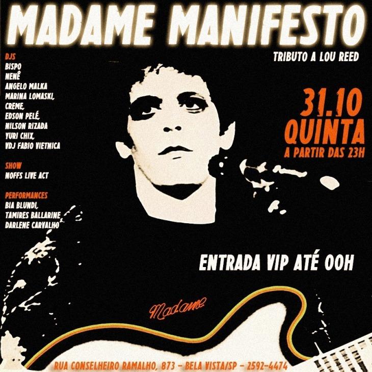 LOU REED NO MADAME MANIFESTO