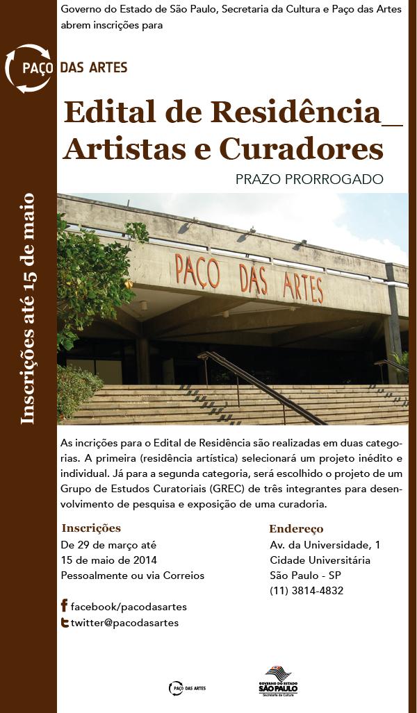 EDITAL DE RESIDÊNCIA PARA ARTISTAS E CURADORES ATÉ 15 DE MAIO